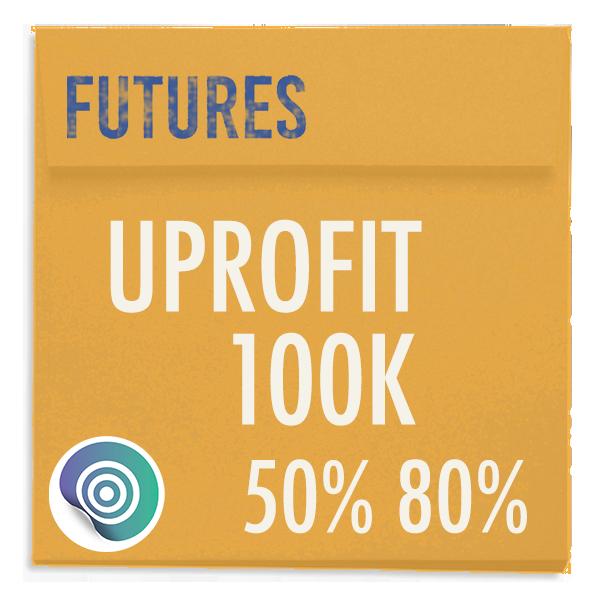 funded-trader UPROFIT evaluation funding program trading futures 100K 50pc 80pc