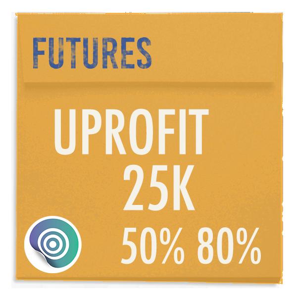 funded-trader UPROFIT evaluation funding program trading futures 25K 50pc 80pc