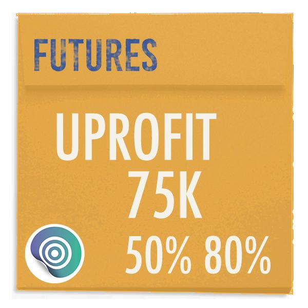 funded-trader UPROFIT evaluation funding program trading futures 75K 50pc 80pc